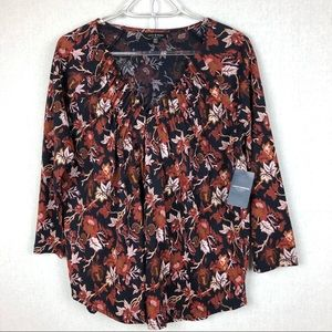 NWT Lucky Brand Rust & Blue Paisley Blouse